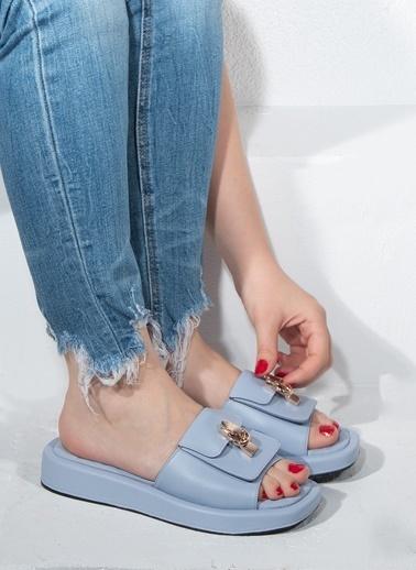 Nemesis Shoes Nemesis Shoes Gerçek Deri Kadın Terlik Mavi